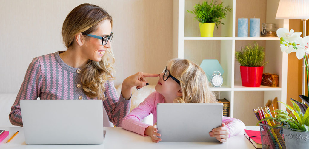 Child learning to use computer