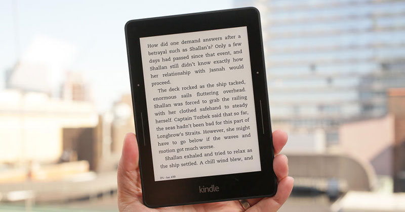 Kindle voyage reader.